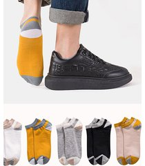 5 pairs colorblock cotton no show socks set