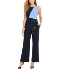 vince camuto sleeveless colorblocked jumpsuit