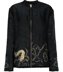 by walid embroidered bomber jacket - black