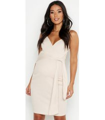 maternity strappy tie front bodycon dress, stone