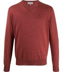 canali v-neck sweatshirt - red