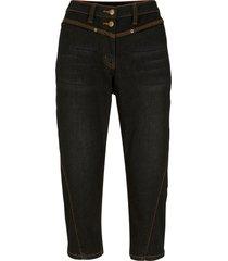 jeans capri elasticizzati con cuciture modellanti e cinta comoda (nero) - bpc bonprix collection