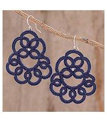 hand-tatted dangle earrings, 'elegant swirls in indigo' (guatemala)