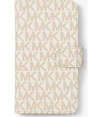 mk custodia folio per iphone x con logo - vaniglia (naturale) - michael kors