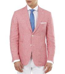 tallia men's slim-fit pink gingham check blazer