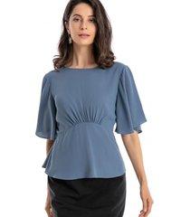 blusa pliegues azul nicopoly
