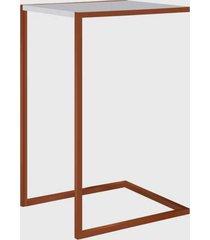 mesa lateral branco/cobre artesano