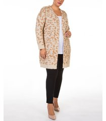 black tape plus size printed open-front cardigan sweater