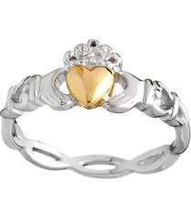 10k gold & silver claddagh ring silver/gold size 6