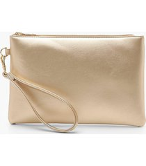 metallic smooth pu zip top clutch bag, gold