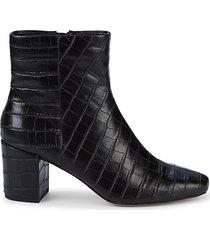 heather iv croc-embossed block heel booties