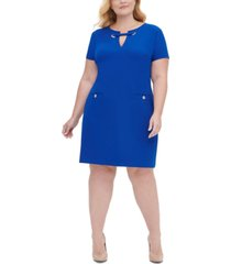 tommy hilfiger plus size scuba crepe pocket shift dress