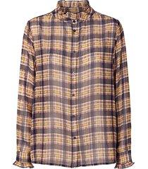 geruite blouse met lurex melanie  paars
