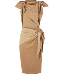 burberry tie detail tri-tone silk jersey dress - neutrals