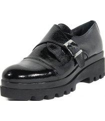 zapato cuero hebilla lateral negro mailea