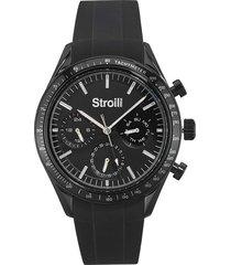 orologio multifunzione cinturino nero in silicone e cassa in acciaio per uomo
