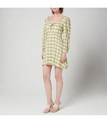 faithfull the brand women's tilla mini dress - ligne check print olive - l