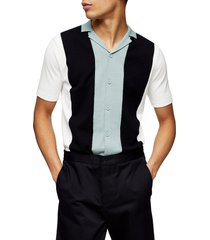 men's topman classic fit colorblock short sleeve cardigan, size x-small - black