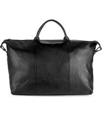 longchamp women's le pliage cuir travel bag - black