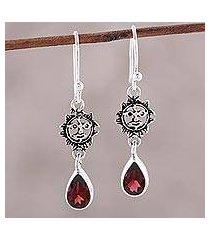 garnet dangle earrings, 'scarlet sunset' (india)