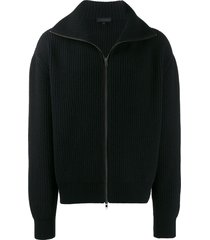 ann demeulemeester zip-up ribbed cardigan - black