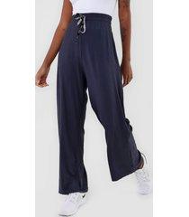 calça colcci fitness pantalona canelada azul-marinho