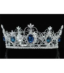 pageant beauty contest unisex full circle tiara cz blue sapphire crown