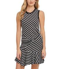 dkny striped sleeveless flutter-hem side-ruched dress