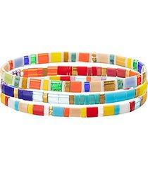 luxe jennifer 3-piece goldtone & enamel stretch bracelet set