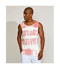 regata masculina slim estampado tie dye gola careca rosa