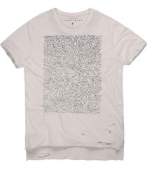 camiseta masculina geométrica mullet off white