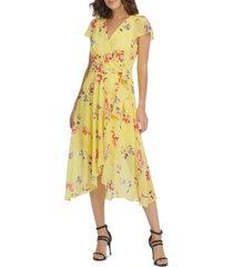 dkny floral-print flutter-sleeve midi dress