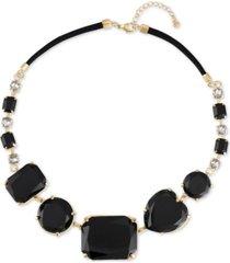 "rachel rachel roy gold-tone crystal & stone heart collar necklace, 41"" + 3"" extender"