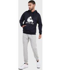 sudadera para hombre conjunto hoodie azul y gris jaspe arctic fox
