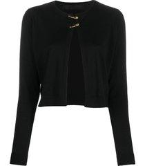 versace short safety-pin cardigan - black