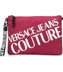 versace jeans couture contrast logo clutch - red