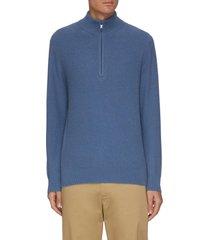 half zip mock neck cashmere sweater