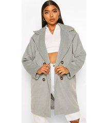 tall nepwollen jas met dubbele knopen, grey