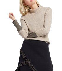 women's nic+zoe balance contrast cuff turtleneck cotton blend sweater, size xx-large - beige