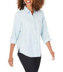 women's foxcroft rhea stripe shirt, size 16 - blue