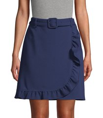 karl lagerfeld paris women's belted faux wrap skirt - medieval blue - size 12