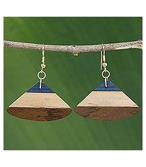 wood dangle earrings, 'forest fan' (brazil)