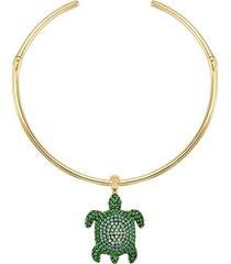 collana torque mustique sea life turtle, verde, placcato color oro