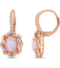 blue-hued opal (1-1/2 ct. t.w.) and diamond (1/4 ct. t.w.) halo swirl earrings in 10k rose gold