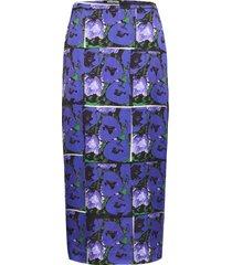 leona print knälång kjol blå dagmar