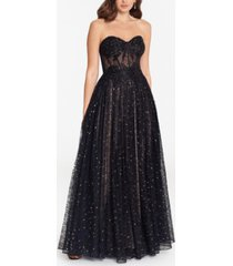 betsy & adam strapless tulle ball gown