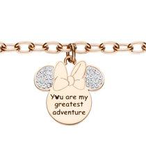 bracciale 'you are my greatest adventure' in acciaio rosato con minni con strass per donna
