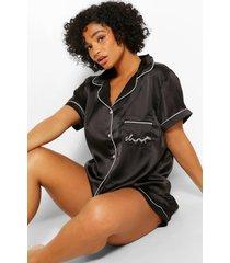 plus satijnen shorts pyjama-set, zwart