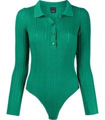 pinko body polo de tricô canelado - verde
