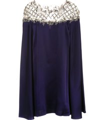 marchesa cape sleeve mini dress - purple